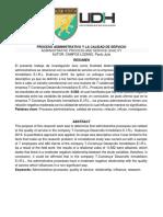 ARTICULO CIENTIFICO DEL PROCESO ADMINISTRATIVO Y LA CALIDAD DE SERVICIO