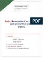 Projet d'Implantation d'Un Systéme de Santé Et Sécurité à EST