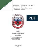 Informe de Conducciones Libres Janco, Ortega, Tarraga