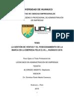 Gestión de Ventas y Posicionamiento de La Marca en La Empresa Felix e.i.r.l, Huánuco 2019