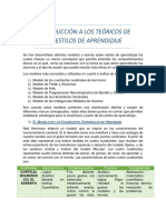 INTRODUCCIÓN A LOS TEÓRICOS DE LOS ESTILOS DE APRENDIZAJE