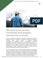 IPOG - Cursos - MBA Gerenciamento de Obras, Produtividade, Racionalização & Desempenho Da Construção