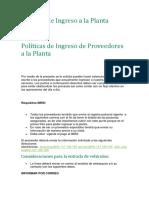 Políticas de Ingreso a La Planta