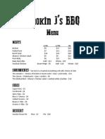 Smokin J's BBQ Menu