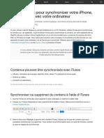Utiliser ITunes Pour Synchroniser Votre iPhone, iPad Ou iPod Avec Votre Ordinateur - Assistance Appl