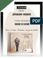 LEONOR. Danza. Partitura. Jerónimo Velasco. Transc. piano Gerardo Betancourt.