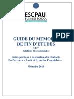 Guide Du Mémoire de Stage AEC 2019