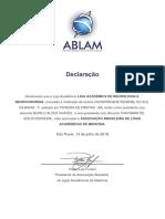 Declaração de Vínculo LANNC e ABLAM