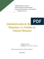 Ensayo Administración de Recursos Humanos vs. Gestión de Talento Humano