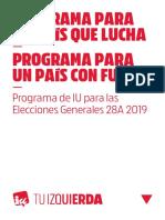Programa Electoral de Izquierda Unida Para Las Elecciones Generales 28A