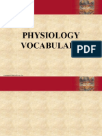 Physiology Vocabulary