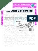 Ficha Las Orejas y Las Perdices Para Quinto de Primaria