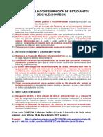 Demandas de la Confederación de Estudiantes de Chile (26 de mayo de 2011)