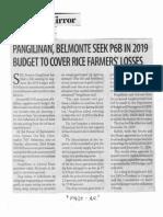 Business Mirror, Nov. 28, 2019, Pangilinan, Belmonte seek P6B in 2019 budget to cover rice farmers losses.pdf