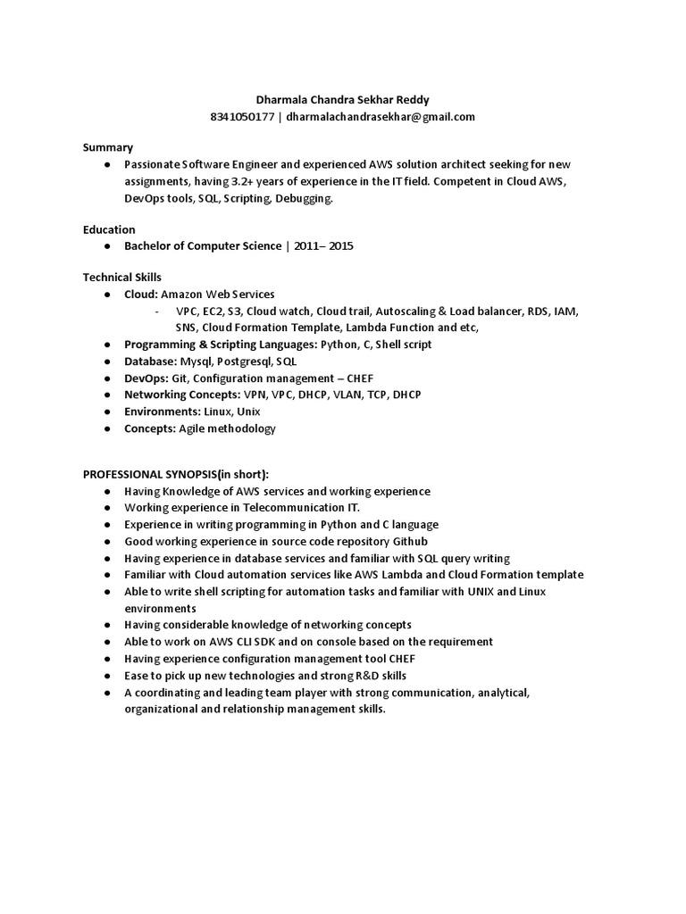 aws resume  cloud computing  system software