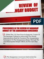 Review of Barangay Budget