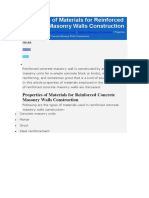 Properties of Materials for Reinforced Concrete Masonry Walls Construction