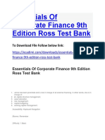 Essentials of Corporate Finance 9th Edition Ross Test Bank