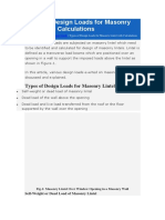 Types of Design Loads for Masonry Lintel with Calculations.docx