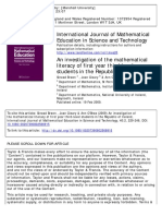 An Investigation of the Mathematical Literacy of First Year Third-level Students in the Republic of Ireland.
