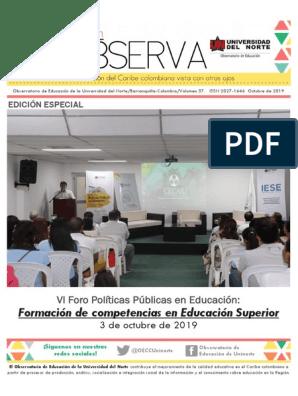 Memorias Foro Políticas Públicas en Educación: Formación de competencias en Educación Superior