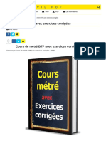 Cours de métré BTP avec exercices corrigées
