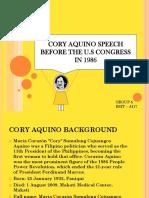 Cory Quino Speech Before the u.s Congress in 1986