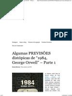 """Algumas PREVISÕES Distópicas de """"1984, George Orwell"""""""