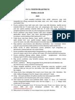 Tata Tertib Praktikum Fisika Dasar 2019