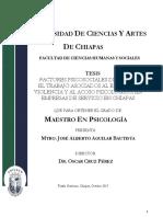 Factores Psicosociales de Riesgo en el Trabajo Asociados al Estrés, la Violencia y el Acoso Psicológico, en Empresas de Servicio en Chiapas - José Alberto Aguilar Bautista