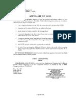 Affidavit of Loss- Emma Avila Rivera