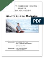 Health Talk Meditation