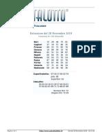 Estrazioni del Lotto Italiano di giovedi 28 Novembre 2019