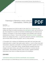 Flamengo e Palmeiras Serão Cabeças de Chave Da Libertadores; Grêmio Perto - Blog Do Marcel Rizzo - UOL