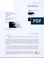 Lettre du cabinet Fieldfisher à la Commission européenne sur le chlorpyrifos 23.08.2019