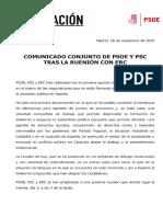 Comunicado del PSOE tras la reunión con ERC