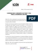 Comunicat del PSOE després de la reunió amb ERC