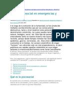 Apoyo psicosocial en emergencias y desastres