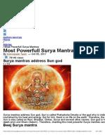 Surya Mantras - Most Powerful Surya Mantra