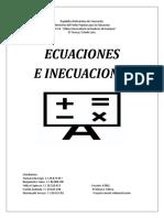 Ecuacones e Inecuaciones