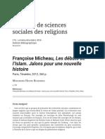 Françoise Micheau, Les Débuts de l'Islam. Jalons Pour Une Nouvelle Histoire