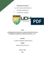 LA INFORMALIDAD EN VENTAS DE LAS MYPES DE ARTEFACTOS  EN EL CRECIMIENTO ECONOMICO DEL DISTRITO DE HUANUCO – 2019