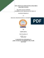 Formulation and Evaluation of Pulsatile Drug Delivery System