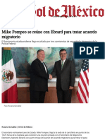 Mike Pompeo Se Reúne Con Ebrard Para Tratar Acuerdo Migratorio - El Sol de México