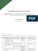 PLANIFICACIONCLASEaCLASECalculo216202019