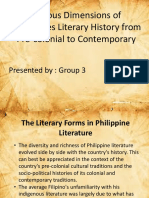 Various Dimensions of Philippines Literary History From Pre Colonial to Contemporary Group 3