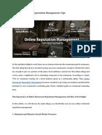 Online Restaurant Reputation Management Tips