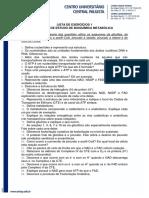 Lista Exercícios - Bioquímica Metabólica