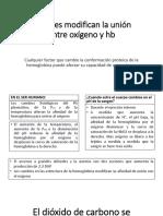 Factores Modifican La Unión Entre Oxígeno y Hb