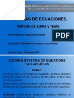 Sistema de Ecuaciones Metodo Suma y Resta